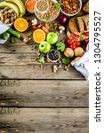 healthy food. selection of good ... | Shutterstock . vector #1304795527