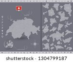 switzerland map and flag with... | Shutterstock .eps vector #1304799187