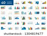 big set of charts  graphs. blue ... | Shutterstock .eps vector #1304819677