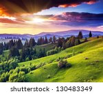 Stock photo majestic sunset in the mountains landscape overcast sky before storm carpathian ukraine europe 130483349