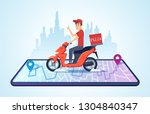 pizza motorbike delivery. urban ... | Shutterstock .eps vector #1304840347