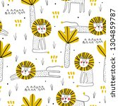 cute seamless pattern with lion.... | Shutterstock .eps vector #1304859787