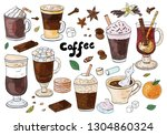 set of hand drawn different... | Shutterstock .eps vector #1304860324