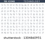 set of line icons of technology ... | Shutterstock . vector #1304860951