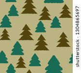 christmas tree seamless pattern ... | Shutterstock .eps vector #1304865697