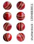 Small photo of Cricket ball leather hard circle stitch close-up new isolated on white background. This has clipping path.