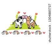 Cute Cow Love Cartoon Vector...