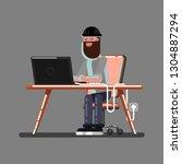 hacker in work. excellent  ...   Shutterstock . vector #1304887294
