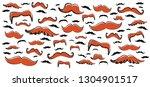 colored retro fake mustaches... | Shutterstock .eps vector #1304901517