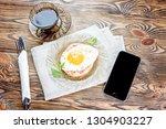 breakfast. toast with the... | Shutterstock . vector #1304903227