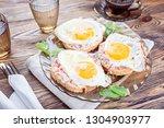 breakfast. toast with the... | Shutterstock . vector #1304903977
