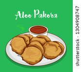 allo pakora with sauce. indian... | Shutterstock .eps vector #1304908747