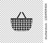 wicker basket icon isolated on... | Shutterstock .eps vector #1304909404