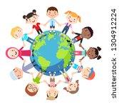 kids love globe conceptual.... | Shutterstock .eps vector #1304912224