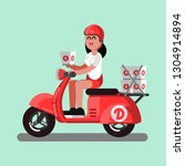 delivery girl on scooter with... | Shutterstock . vector #1304914894