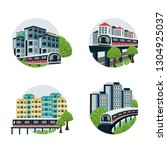 train passing by residential... | Shutterstock .eps vector #1304925037