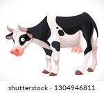 cute cow with black spots farm... | Shutterstock .eps vector #1304946811