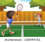illustration of two boys... | Shutterstock .eps vector #130494761