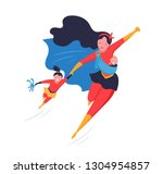 super mom. flying superhero... | Shutterstock .eps vector #1304954857