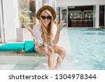 charming fair haired girl in... | Shutterstock . vector #1304978344