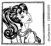 pin up brunette avatar portrait | Shutterstock .eps vector #130501055
