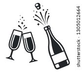 black and white champagne... | Shutterstock .eps vector #1305012664