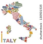 traditional symbols of italy in ... | Shutterstock .eps vector #130501535
