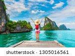 adventure traveler woman joy...   Shutterstock . vector #1305016561