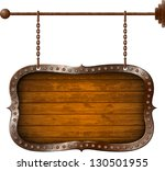Wooden Signboard With Metal Ri...