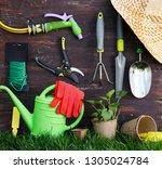 gardening tools on old wooden... | Shutterstock . vector #1305024784