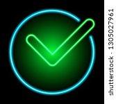 green check mark neon sign... | Shutterstock .eps vector #1305027961