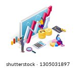 work team in contemporary... | Shutterstock .eps vector #1305031897