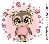greeting card cute cartoon owl...   Shutterstock .eps vector #1305033844