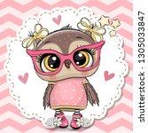 Cute Cartoon Owl In Pink...