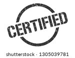 certified black round stamp | Shutterstock .eps vector #1305039781