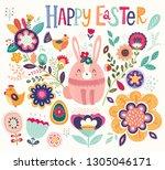 vector greeting easter... | Shutterstock .eps vector #1305046171