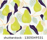pears and leaves. vector... | Shutterstock .eps vector #1305049531