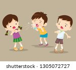 child blow the nose. cute boy... | Shutterstock .eps vector #1305072727