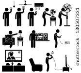 man using home appliances...   Shutterstock .eps vector #130507331