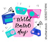 world radio day hand drawn... | Shutterstock .eps vector #1305077494