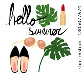 hello summer hand writing and... | Shutterstock .eps vector #1305077674