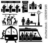 Train Commuter Station Subway Man People Passengers Stick Figure Pictogram Icon - stock vector