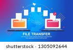 file transfer. files... | Shutterstock .eps vector #1305092644