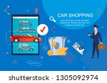 car shopping. payment by cash... | Shutterstock .eps vector #1305092974