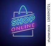 shop online neon sign. vector...   Shutterstock .eps vector #1305093721