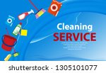 cleaning service blue ... | Shutterstock .eps vector #1305101077