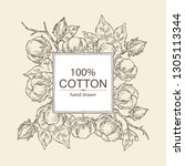 background with cotton  cotton... | Shutterstock .eps vector #1305113344