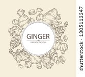 background with ginger  root... | Shutterstock .eps vector #1305113347