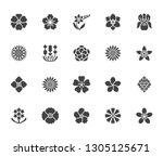 flowers flat glyph icons.... | Shutterstock .eps vector #1305125671