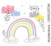 color rainbow cloud text black... | Shutterstock .eps vector #1305125734